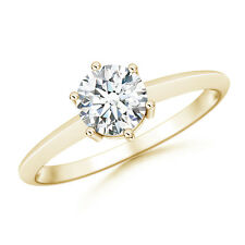 Round Forever Brilliant Moissanite Solitaire Engagement Ring 14k Yellow Gold