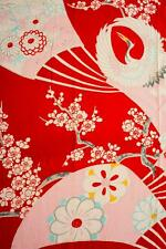"JPI*Red Crane Ogi*Vintage Japanese Girl""s Kimono Silk Fabric,patchwork,Panel"