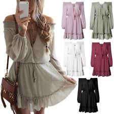 Womens Chiffon Long Puff Sleeve Off Shoulder Evening Cocktail Party Mini Dresses