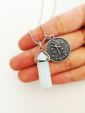 Opalite Point Necklace Zodiac Horoscope Pendant Charm Star Sign Opal Imitation