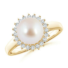 8mm Ball Shaped Akoya Cultured Pearl Ring with Diamond Halo Size 3-13