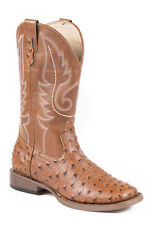 Roper Bumps Youth Tan Faux Leather Ostrich Unisex Cowboy Boots