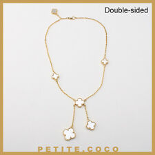 Handmade mother of pearl 6p four leaf clover gold necklace