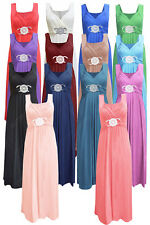 Womens Ladies Sleeveless Long Length Buckle Maxi Evening Prom Party Dress Σ