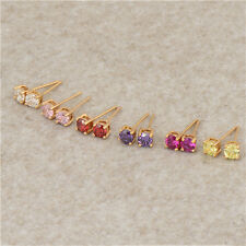 Fashion jewellery 18K Gold Plated Red/pink/purple Crystal Girls Stud Earrings