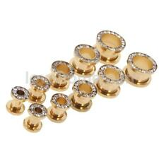 1Pair Stainless Steel Crystal Screw Tunnels Ear Expanders Stretcher Plugs Gauges