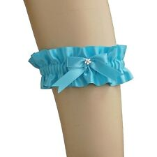 garter of satin has bow for bride on wedding, women's, turquoise 0350