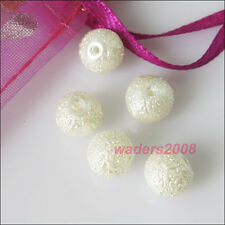 New White Charms Glass Pearl Wrinkle Spacer Beads 4mm 6mm 8mm 10mm 12mm 14mm