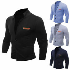 Men's Slim Stand Collar Coat Jacket Outerwear Overcoat Casual Tops Blazer d103