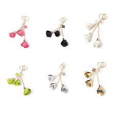 Hot Leather Flowers Keyring Charm Pendant Purse Bag Key Ring Chain Keychain Gift