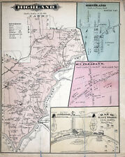 1877 Map of Highland Township Clarion County Pennsylvania Oil Wells