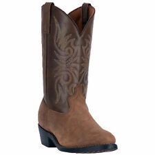 Laredo Mens Tan Leather Paris Distressed 12in Round Toe Cowboy Boots