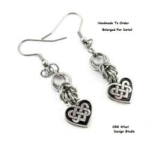 Heart Love Eternal Knot Earrings Steel or Sterling Chain Mail, Chainmaille Art