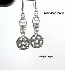Pentacle Protection Earrings Stainless Steel Chain Mail Pentagram Wicca Magick