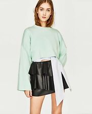 -% ZARA TRF Black Leather Look Mini Skirt with Frills HOT XS - XL