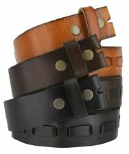 """Genuine One Piece Overlapped Leather Belt Strap 1-1/2"""" Wide Black Brown Tan"""