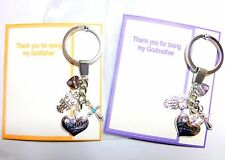 Godmother OR Godfather Christening Baptism Naming Keyring Thank you Gift