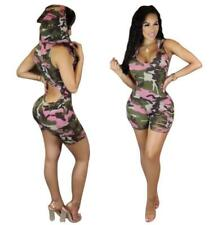 Sexy Women Hooded Jumpsuits Casual Backless Camouflage Hot Pants Rompers Shorts