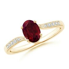 Solitaire Oval Garnet Bypass Ring with Pave Diamond Accents 14k Yellow Gold