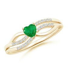 Solitaire Emerald Diamond Heart Promise Ring 14k Yellow Gold/Silver Size 3-13