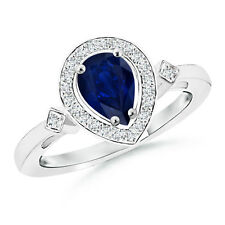 Natural Pear Blue Sapphire Diamond Engagement Ring 14k White Gold Size 3-13