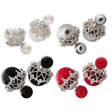 Fashion Hollow Out Big Simulated Pearl Jewelry Rhinestone Color Ball Earrings