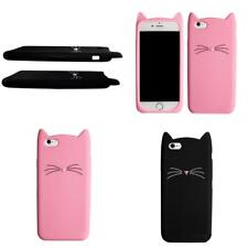 Silicon Cases for iphone Beard Case Soft Silicone Cartoon 3D Cute Black Cat Ears