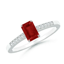 Claw-Set Emerald Cut Ruby Solitaire Ring with Diamond 14K White Gold/ Platinum