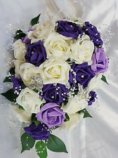 Wedding Flowers Ivory Purple Lilac Brides Bridesmaids Bouquet Pearl Butterflys