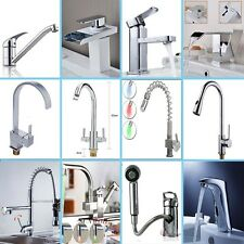 Bathroom LED Pull Out Tap Spray Spout Swivel Kitchen Mixer Faucet Waterfall Taps