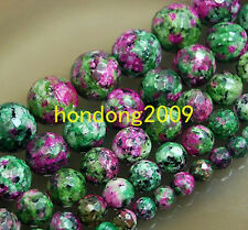 "Natural 4/6/8/10/12/14mm  Faceted Ruby Zoisite  Round Loose Beads 15"" Choose"