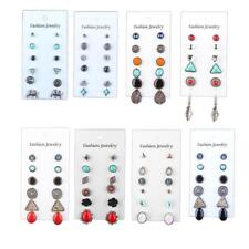 6 Pairs/Set Earrings Ear Stud Silver Plated Vintage Women Lady Bohemia Style