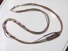 """Vintage Native American Indian Liquid Sterling Silver Necklace 5 Strand 26"""""""