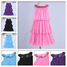 Cute Kids Girls Chiffon Sequins Collar Triple Tiered Party Flower Dress 4-14Y