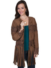 Scully Leatherwear Womens Brown Lamb Suede Western Fringe Coat
