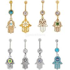 Glitter Crystal Navel Belly Button Ring Body Piercing Fatima Hand Charms Jewelry
