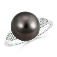 10mm Classic Ball Tahitian Cultured Pearl Cocktail Ring with Diamond