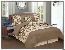 Latte Mocha Brown Flocked Panel 7pc* KING DOUBLE Comforter Set Valance 3 Cushion
