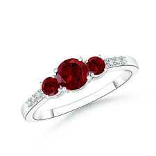 Three Stone Round-Cut Garnet Ring with Diamond Accents 14k White Gold Size 3-13