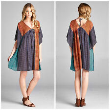 VELZERA Tunic Dress top Printed kimono sleeves w tie back  S.M.L NEW