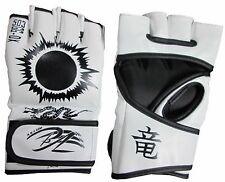 White MMA UFC Sparring Grappling Fight Boxing Punch Mitts Leather Gloves