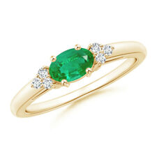 Natural Emerald Solitaire Ring with Cluster Diamond 14k Yellow Gold/ Platinum