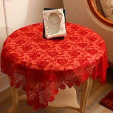 Red Color Lace Hollow Embroidered Wedding Decorative For Table Cloth