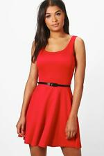 Boohoo Womens Maya Scoop Neck Skater Dress in Red size 8