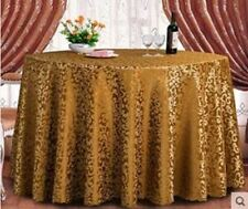 Gold Color Floral Pattern Round Shape Waterproof Fabric Party Dining Table Cloth
