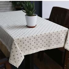 Cotton And Linen Fabric White Color Square Shape Table Cloth