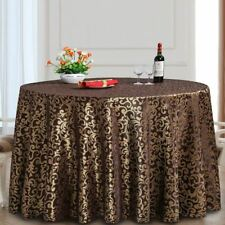 Brown Color Polyester Material Round Shape Table Cloth For Party Use