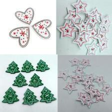 New 25pcs Merry Christmas Tree /Star /Heart Snowflake Wood Buttons Sewing Crafts