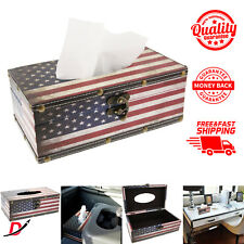 American Flag Design Vintage Patriotic Hinged Refillable Tissue Box Holder Cover