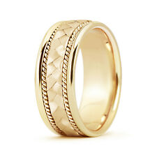 7MM 14K Yellow Gold Hand Braided Twisted Rope Mens Wedding & Anniversary Band